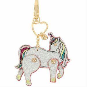 Betsey Johnson Silver Glitter Unicorn Keychain
